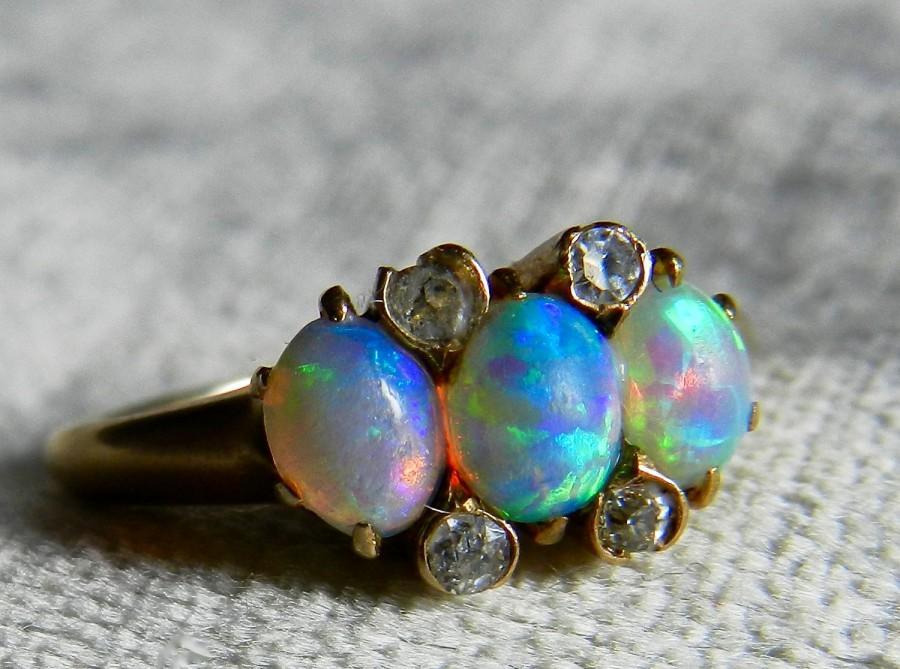Mariage - Black Opal Ring Antique Opal Diamond Ring Opal Engagement Ring Australian Blue Opal Ring 14K Art Deco Ring October Birthday Gift