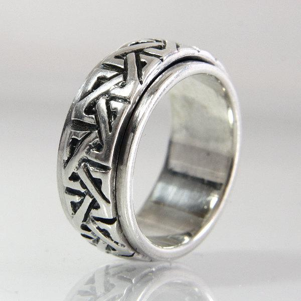 Wedding - Celtic Knot Wedding Band Spinner Ring Vintage Sterling Silver Size 6