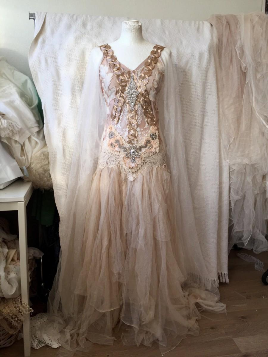 Wedding Dress Bronze Goddess,ethereal Wedding Dress Pale Pink,elven ...