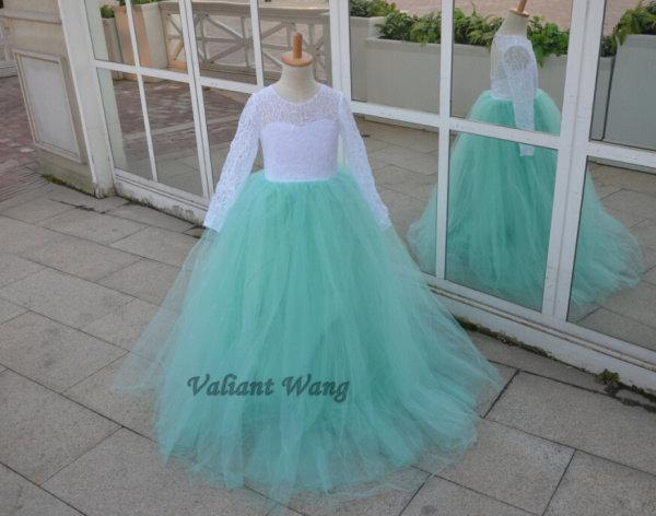 Long Sleeves White Lace Mint Green Tulle Flower Girl Dress Wedding