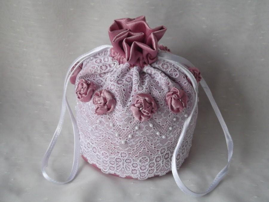 Hochzeit - Drawstring bridal wedding bag  satin and lace money purse white pink