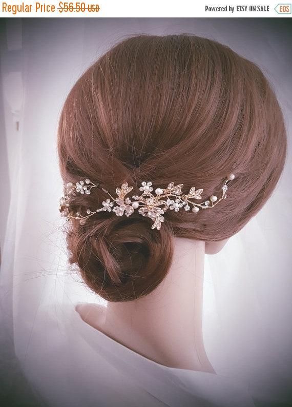 زفاف - SALE20%-LIMITED TIME Wedding Hair Vine, Bridal Head Piece, Bridal Hair Accessory, Gold Hair Piece, Silver Hair Accessory, Rose Gold Hairpiec