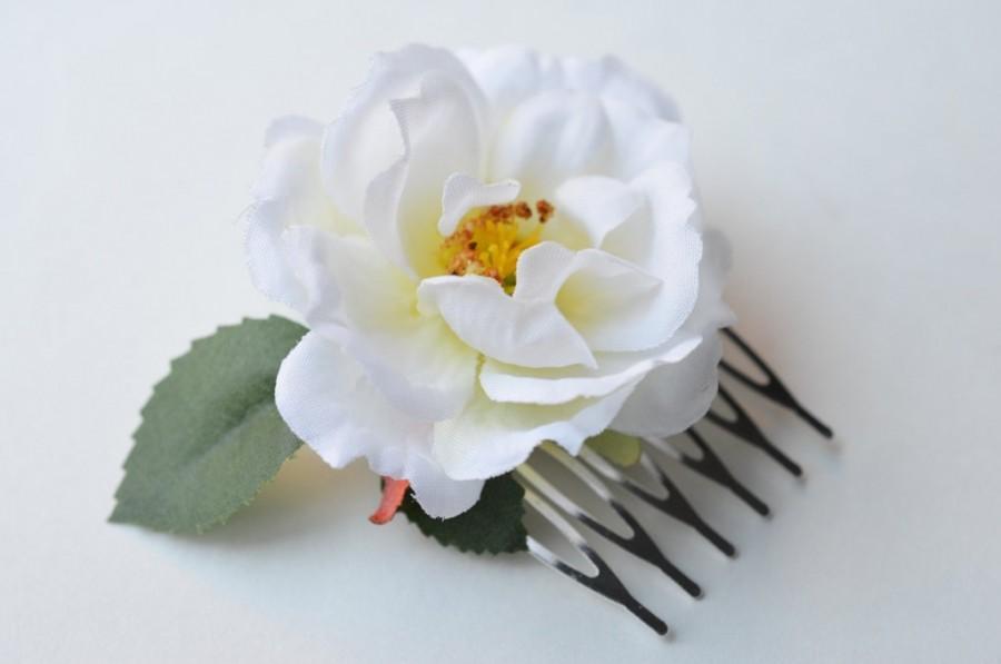 زفاف - White Rose Flower Comb, Small Blossom Comb, Wedding Hair Accessory, Boho Hair Comb