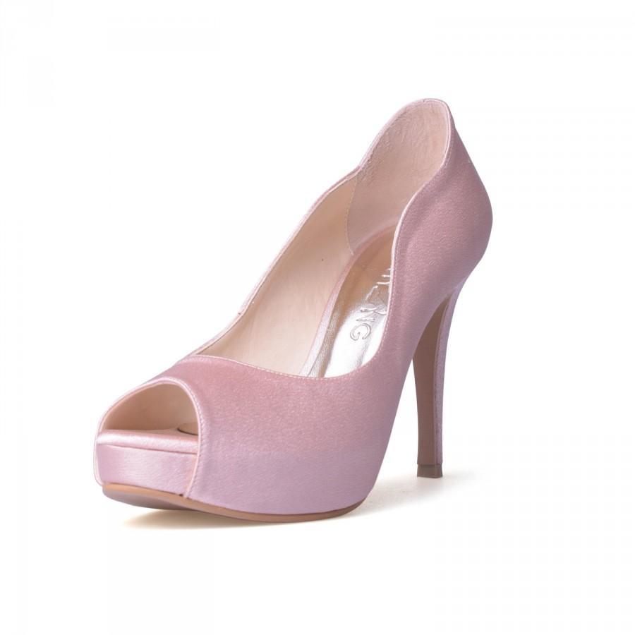 زفاف - Nude Blush Satin Wedding Shoes, Nude Pink Satin Evening Heels, Nude Bridal Shoes, Peep Toe Wedding Shoes in Blush Satin, Bridal Heels