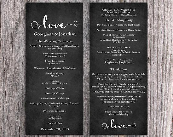 Свадьба - Chalkboard Wedding Program Template DIY Editable Word File Download Black & White Program Heart Program Printable Wedding Program 4x9.25