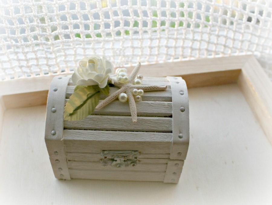 beach wedding treasure chest wood ring bearer box with white