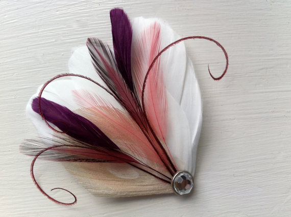 Hochzeit - SIDNEY Ivory, Burgundy, Coral, Grape Purple, and Maroon Peacock Feather Hair Clip, Feather Fascinator