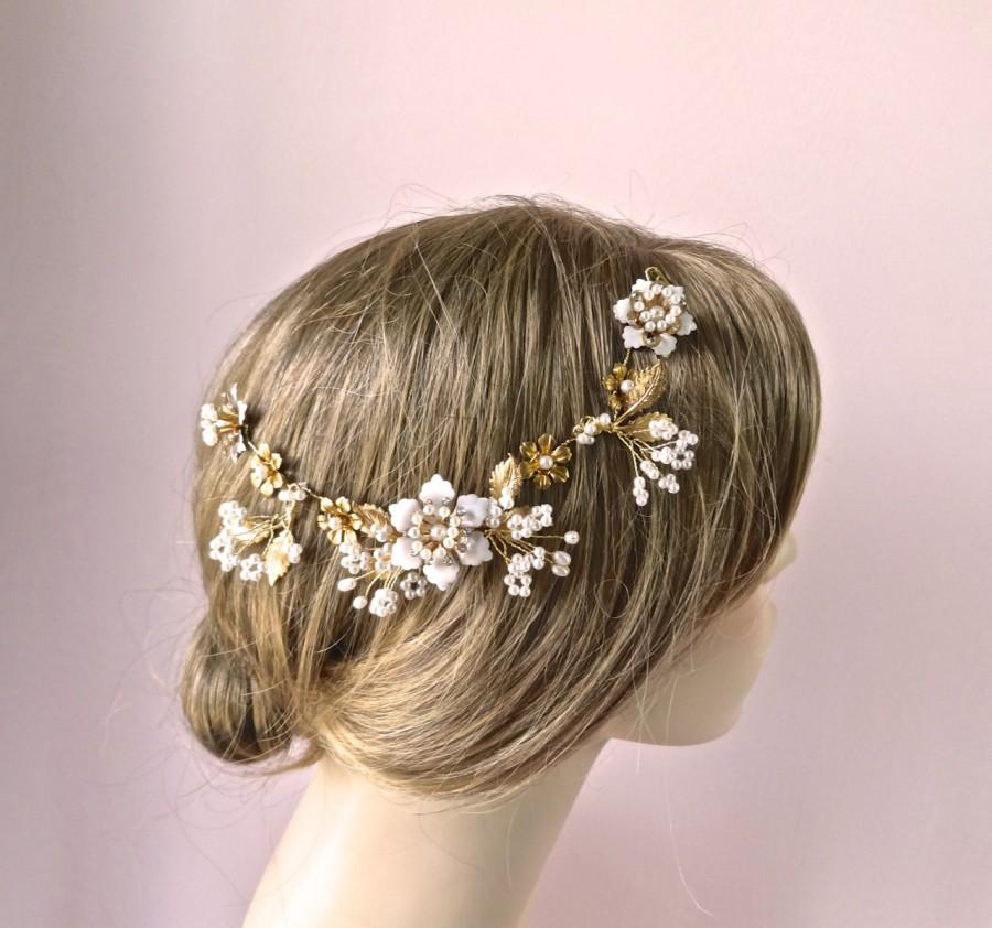 Свадьба - Bridal hair vine, headpiece, hair accessories, Snowflower floral hair vine,  wedding hair accessories, pearls and crystals, Style 331