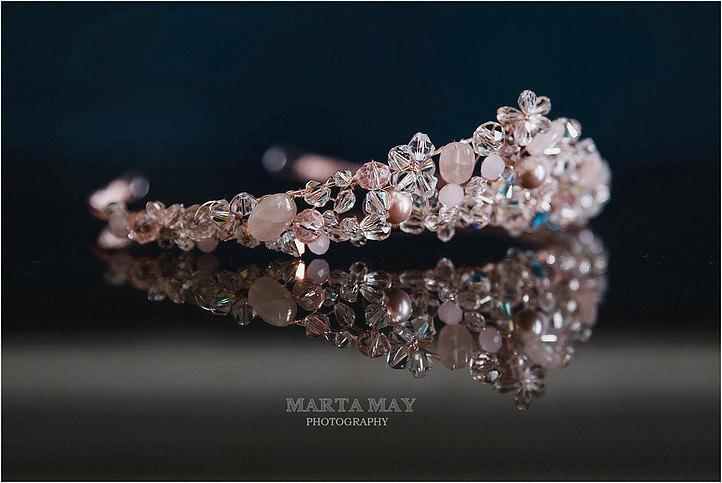 Hochzeit - Rose gold tiara, blush tiara, wedding tiara, bridal tiara, pink tiara, crystal tiara, crystal and pearl tiara