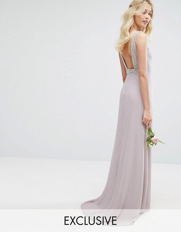 Mariage - TFNC WEDDING High Neck Maxi Dress with Embellished Low Back
