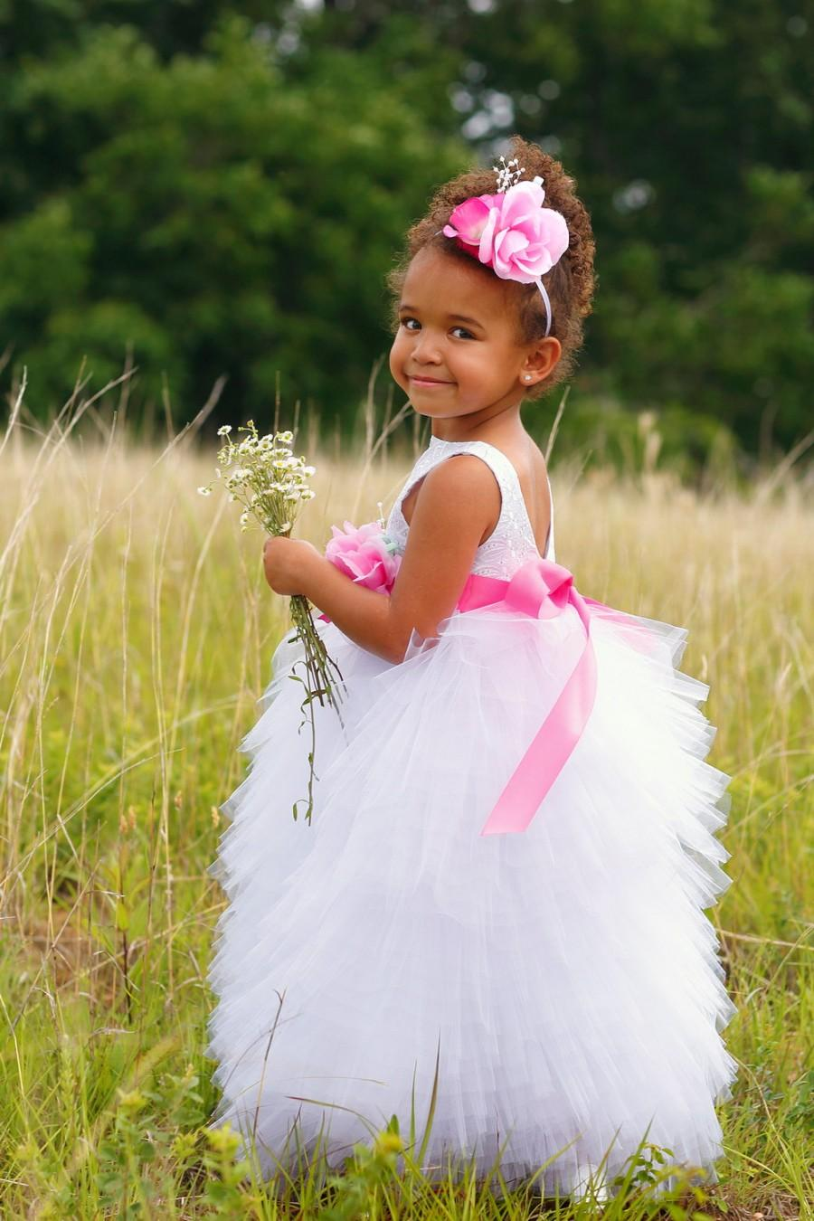 Wedding - Toddler Flower Girl Dress - Full Length Dresses - Pageant  - White Wedding - Boutique Dress -  Custom Colors Available - 2T to 8 Years