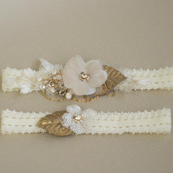Свадьба - Gold Wedding garter, Wedding garter set, Bridal garter, lace wedding garter, Lace garter set, Bridal Garter set,  Lace Garter, Floral garter