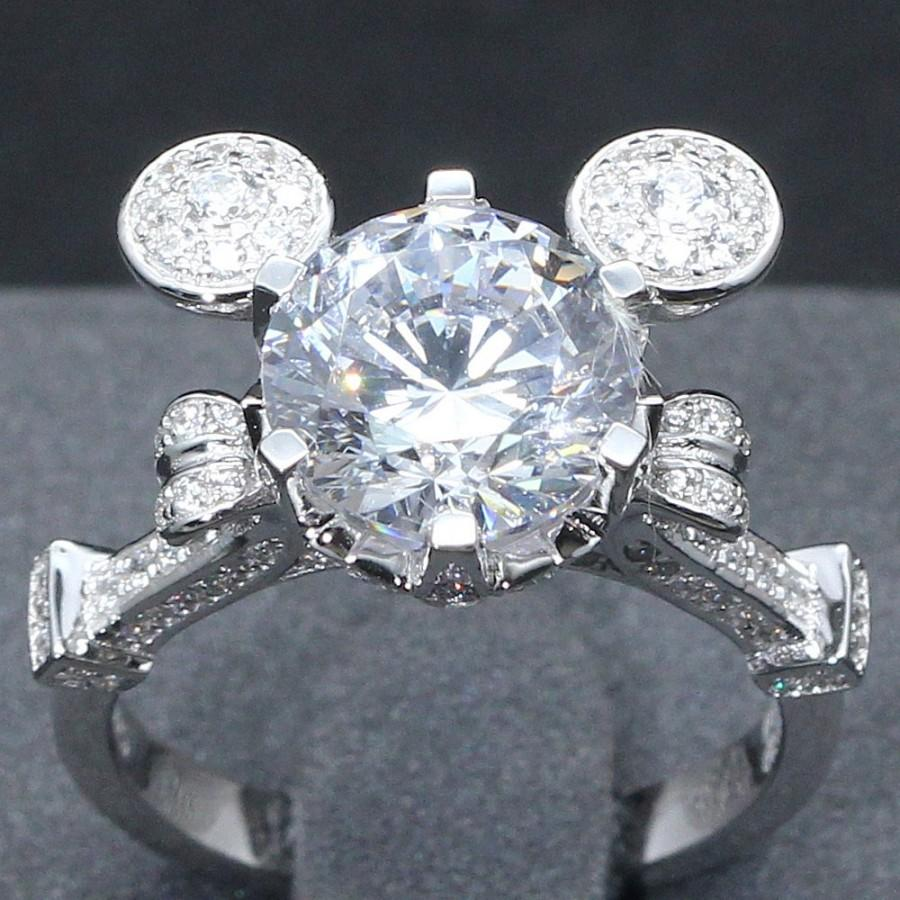 Wedding - 3 Carat Mickey Mouse Cinderella Mashup Pumpkin Carriage Fairy Tale Wedding Engagement Promise Wedding Ring  Disney Once Upon A Time