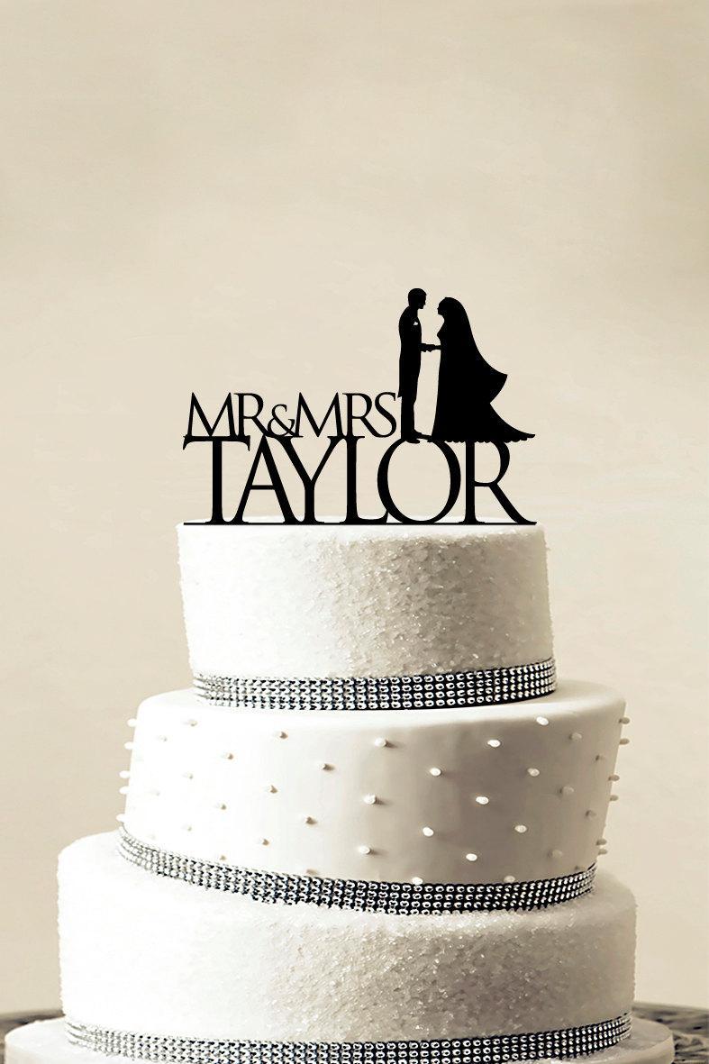 Свадьба - Custom Wedding Cake Topper - Personalized Monogram Cake Topper - Mr and Mrs - Cake Decor - Bride and Groom