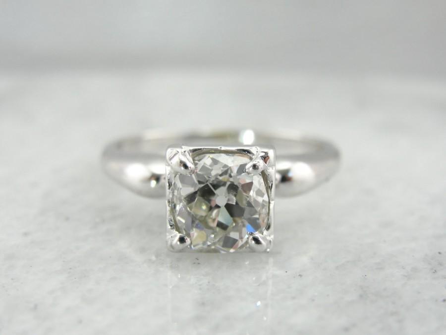 1545428c1b5 1.36 Ct Old Mine Cut Antique Diamond In Retro Era Solitaire ...