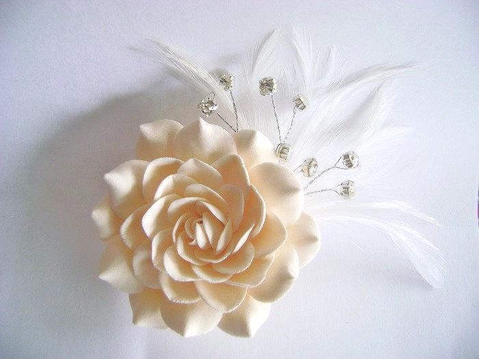 Mariage - Champagne Bridal Hair Flower Gardenia Clip Wedding Hair Accessories Rhinestones Feather