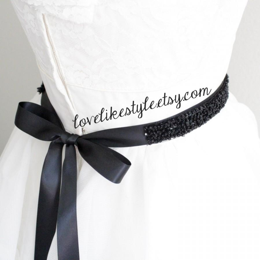 Wedding - Black Sequined and Beaded Lace Black Ribbon Sash, Bridal Black Sash, Bridesmaid Sash, Black Sequined Headband.
