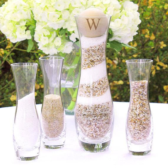Mariage - Rustic Personalized Glass Wedding Sand Ceremony Set