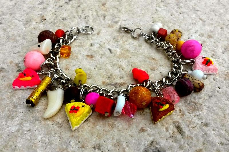 Cake Bracelet Charm Sweets Sweet 16 Gift For Sister Mixed Media Colorful Chunky Candy