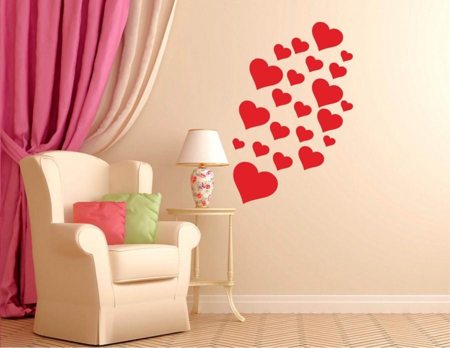 Mariage - Vinyl Wall Word Decal - Heart Vinyl Wall Pattern Decals - Heart Burst - Trendy Home Decor - Vinyl Decal - Wall Words