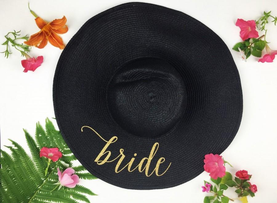 زفاف - Floppy Sun Hat - Sequin Sun Hat - Bride Hat - Beach hat - Custom floppy hat - Bride to be hat - Beach Bride - Just Married Hat - Honeymoon