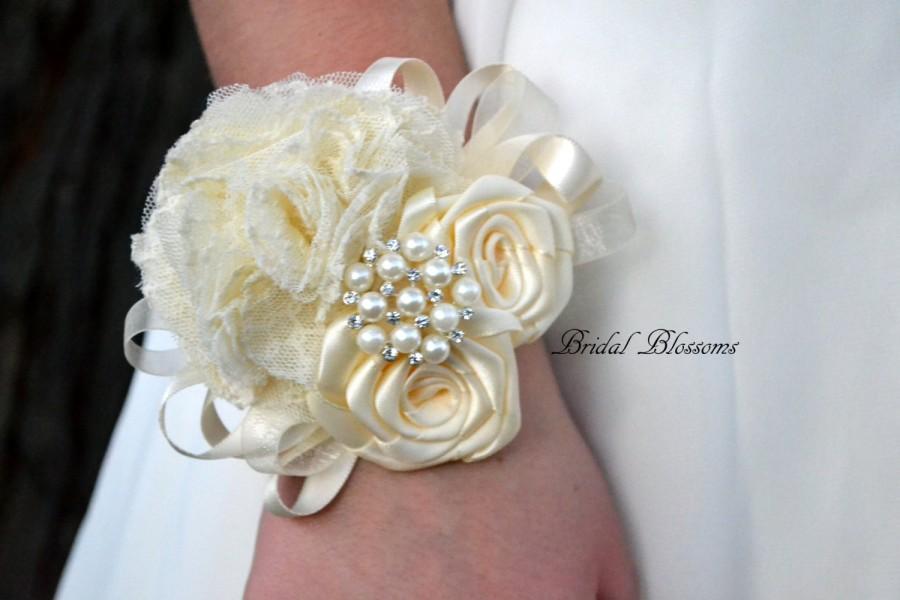 Ivory Satin Lace Ribbon Flower Wrist Corsage 2657878 Weddbook