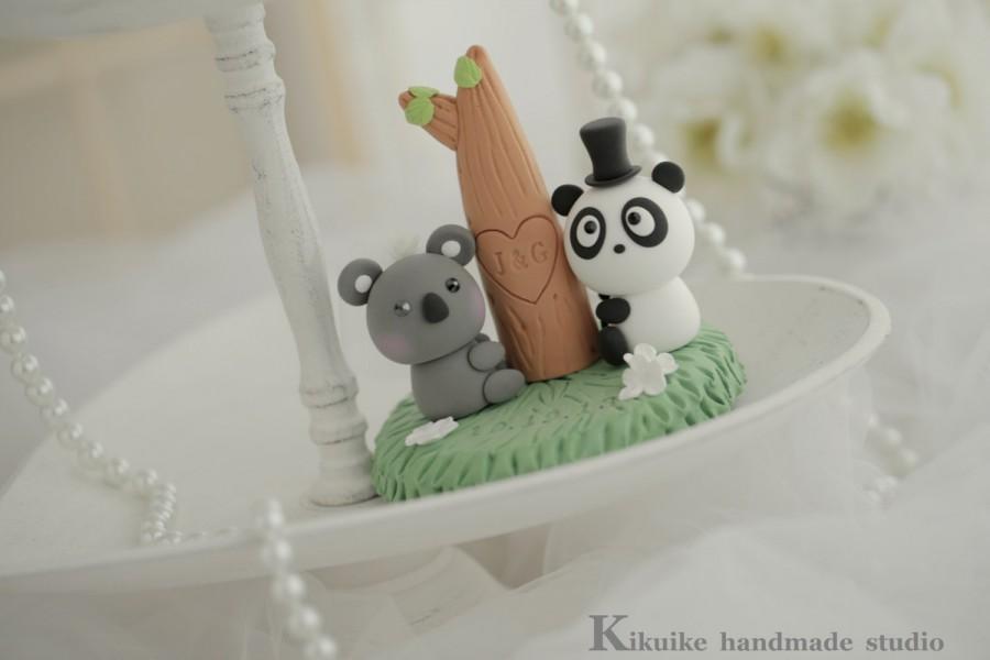 Mariage - panda and koala Wedding Cake Topper-love Koala and Panda  cake topper--k910