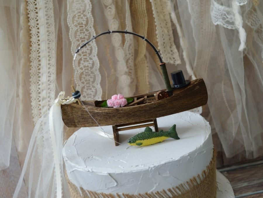 Свадьба - canoe-paddle boat-bass fishing-fishing groom-wedding cake topper-fishing topper-large mouth bass-bride groom-hunting fishing boat topper