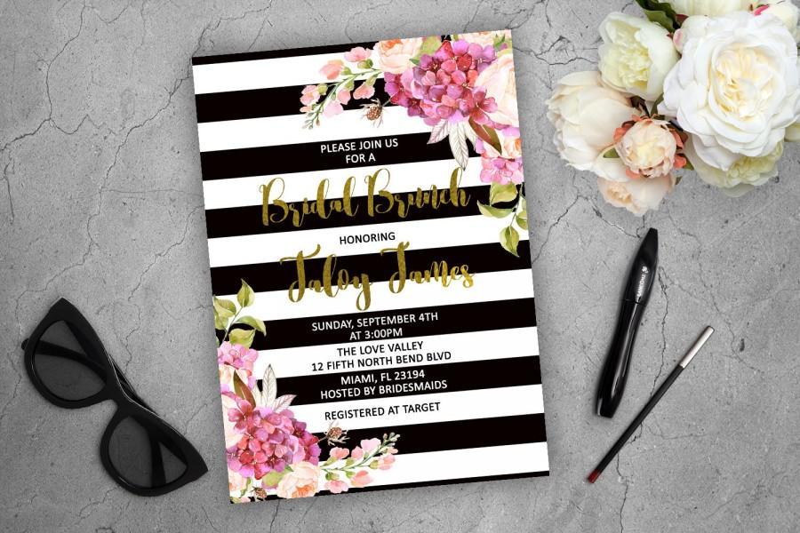 Bridal Brunch Invitation Kate Spade Inspired Floral Invitation Pink