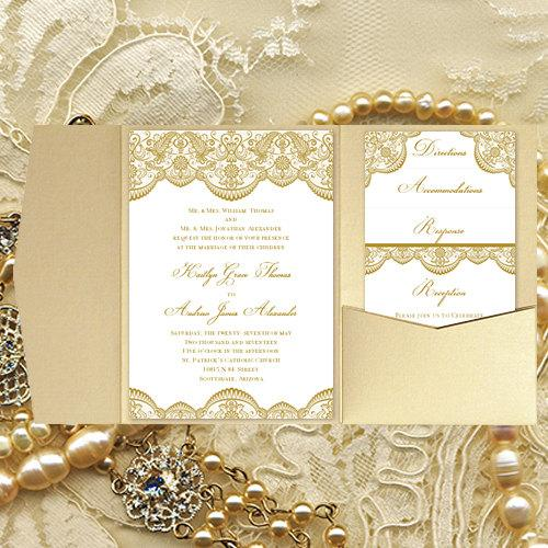 "Pocket Fold Wedding Invitations ""Vintage Lace"" Gold DIY"