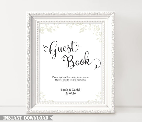 photo relating to Printable Guest Book identify Visitor E book Signal, Marriage Visitor E book Signal, Printable Visitor