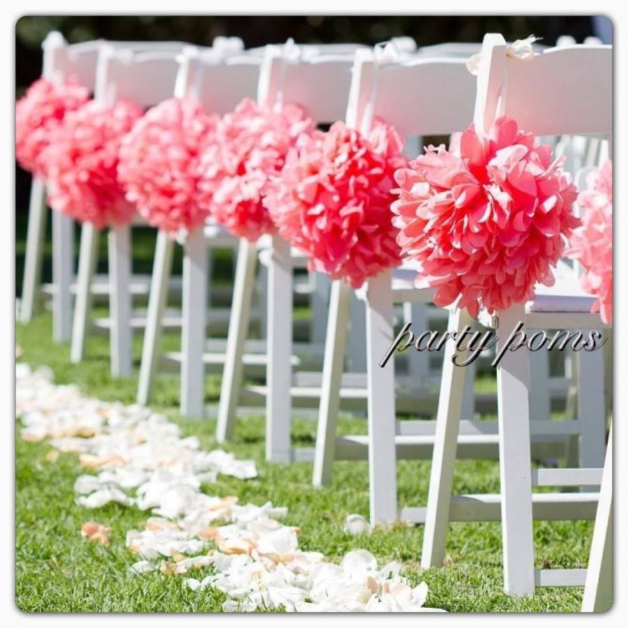 Mariage - Wedding Ceremony Aisle Decoration .. set of ten 9 inch tissue poms