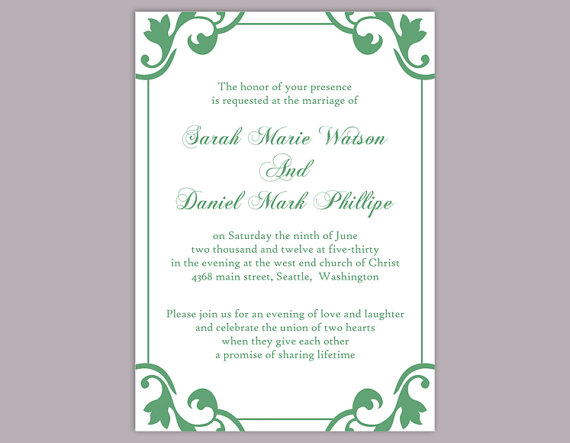 Wedding - DIY Wedding Invitation Template Editable Word File Instant Download Elegant Printable Invitation Green Wedding Invitation Green Invitations