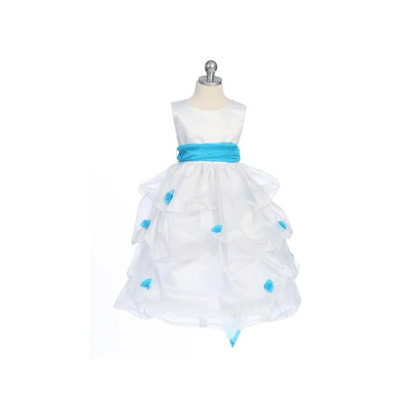 Wedding - Turquoise Flower Girl Dress - Matte Satin Bodice Gathered Organza Style: D2130 - Charming Wedding Party Dresses