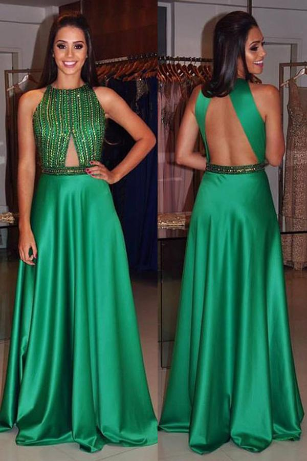 Hochzeit - Youthful Crew Neck Sleeveless Long Green Prom Dress Open Back with Beading