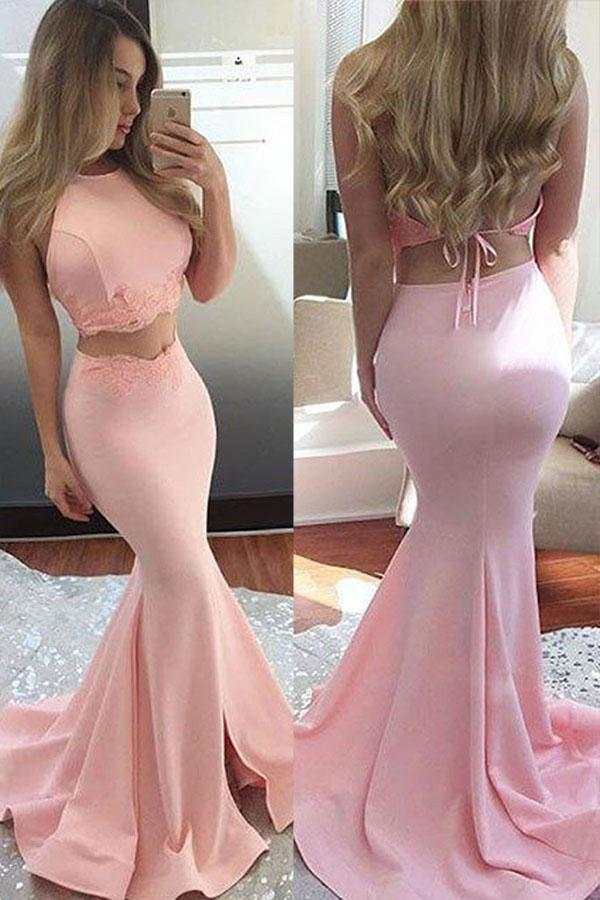 Свадьба - Two Piece Mermaid Jewel Sweep Train Pink Backless Prom Dress with Lace