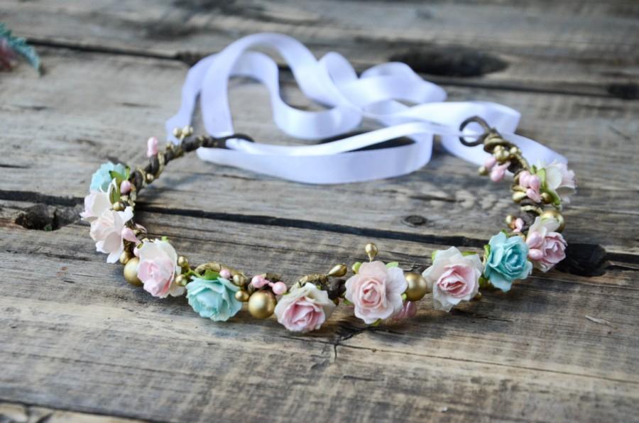 Свадьба - Pink Floral Crown, Pink and Gold Rose Flower Crown, bridal crown, Flower girl flower crown, bridesmaid headpiece