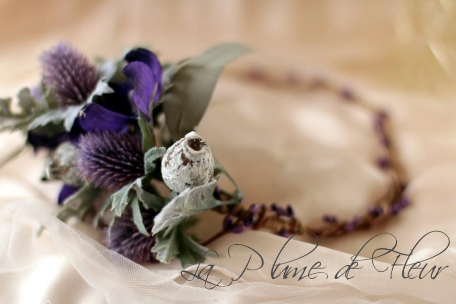 Mariage - Holly - floral crown.  Sea holly,