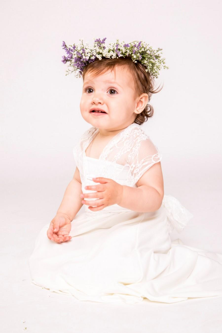 Wedding - Flower girl dress, baby dress, baby flower girl dress, flower girl lace dress, baby bridesmaid, flower girl dresses, wrap dress, flower girl