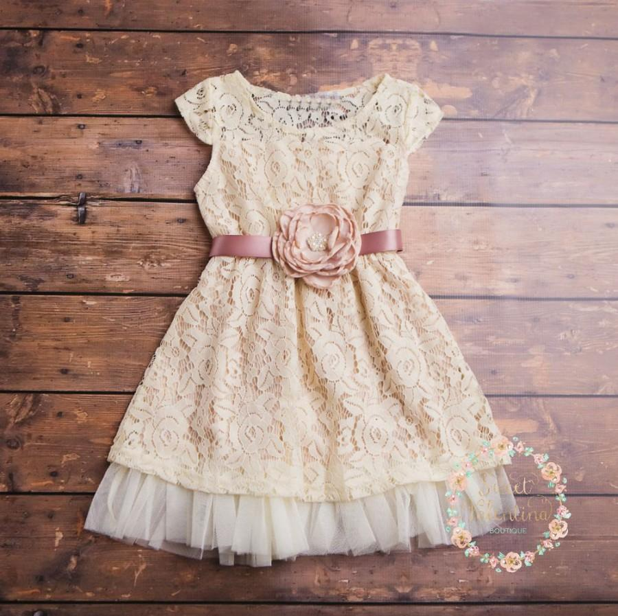 Wedding - Cream flower girl dress, lace baby dress, rustic flower girl dress, country flower girl dress, lace girls dresses, flower girl dress.