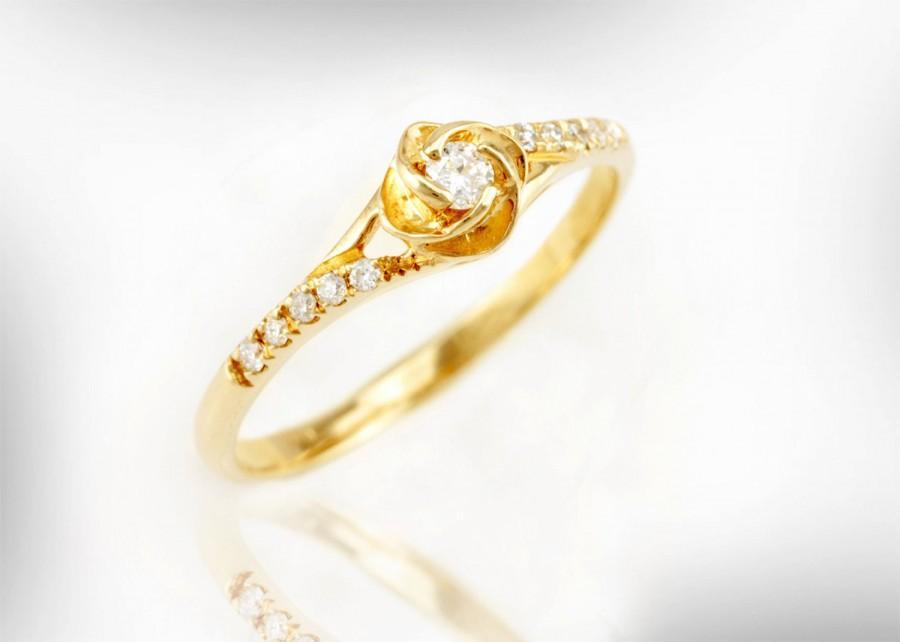Mariage - Rose Engagement Ring, unique engagement ring, art nouveau, vintage, 14k Gold & Diamond Engagement Ring, Women Engagement Ring, Free Shipping