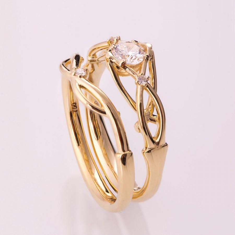 Celtic Wedding Set 14K Gold And Diamond Bridal Unique Engagement Ring Knot 9