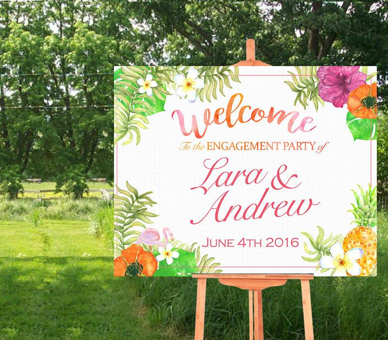 Wedding - Welcome Sign Poster - Bridal Shower-Wedding- Hawaii- Luau-Tropical Theme- Horizontal-Watercolor Printable- Personalized-YOU PRINT