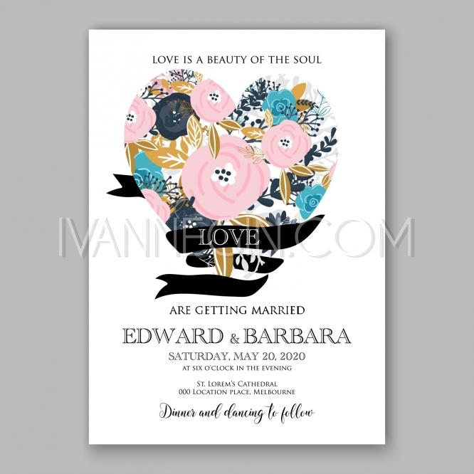 romantic pink rose bridal shower invitation bouquet wedding invitation template design unique vector illustrations christmas cards wedding invitations