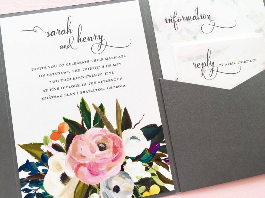 Wedding - Wedding Invitation - Wedding Invite - Muted Blooms Wedding Invitation - Watercolor Floral Pocketfold Wedding Invitation - Pocket Invitation