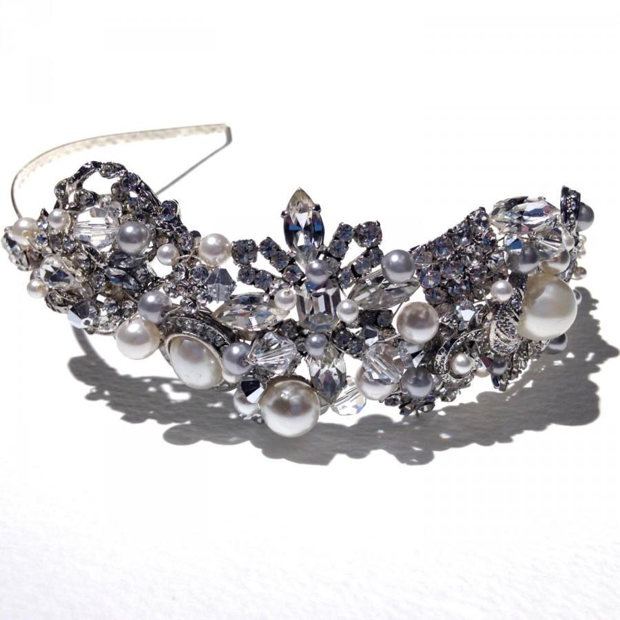 زفاف - Gatsby Vintage Brooch Cluster Tiara