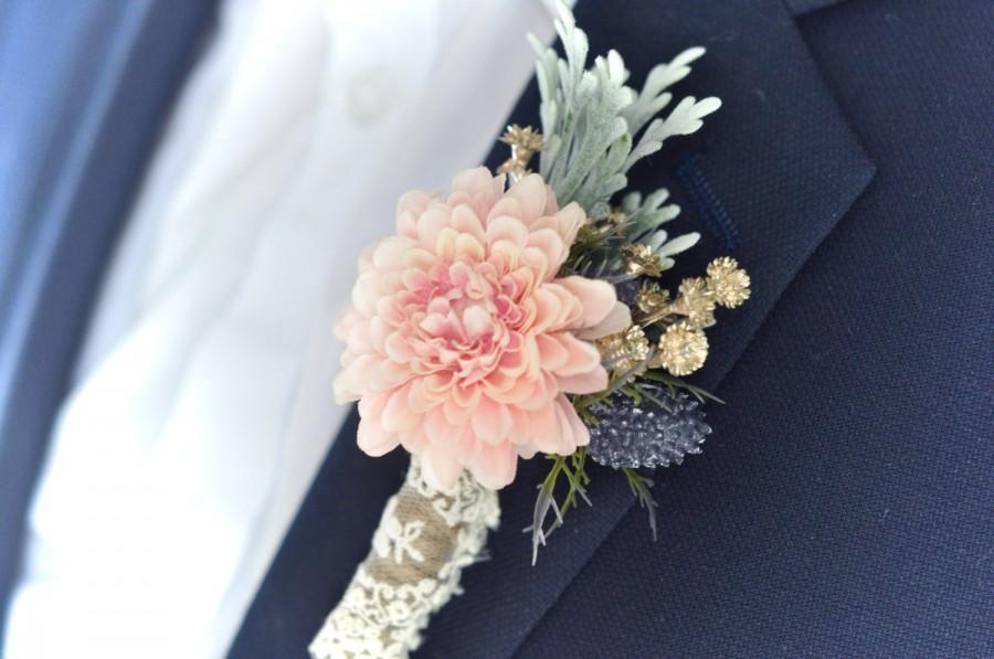 Hochzeit - Blush and Navy Wedding Boutonniere, Blush Boutonniere, Dusty Miller, Thistle Wedding, Alternative Boutonniere, Gold Boutonniere