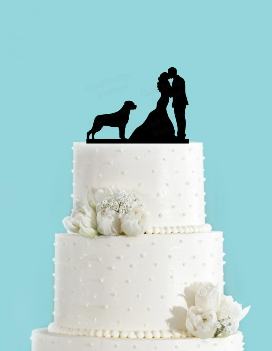 Couple Kissing With Rottweiler Dog Acrylic Wedding Cake Topper ...