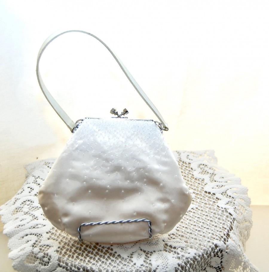 زفاف - Vintage 80s Evening Bag - COLORIFFICS - White Satin Beaded Purse - Bridal Purse - Wedding Handbag - Made in China