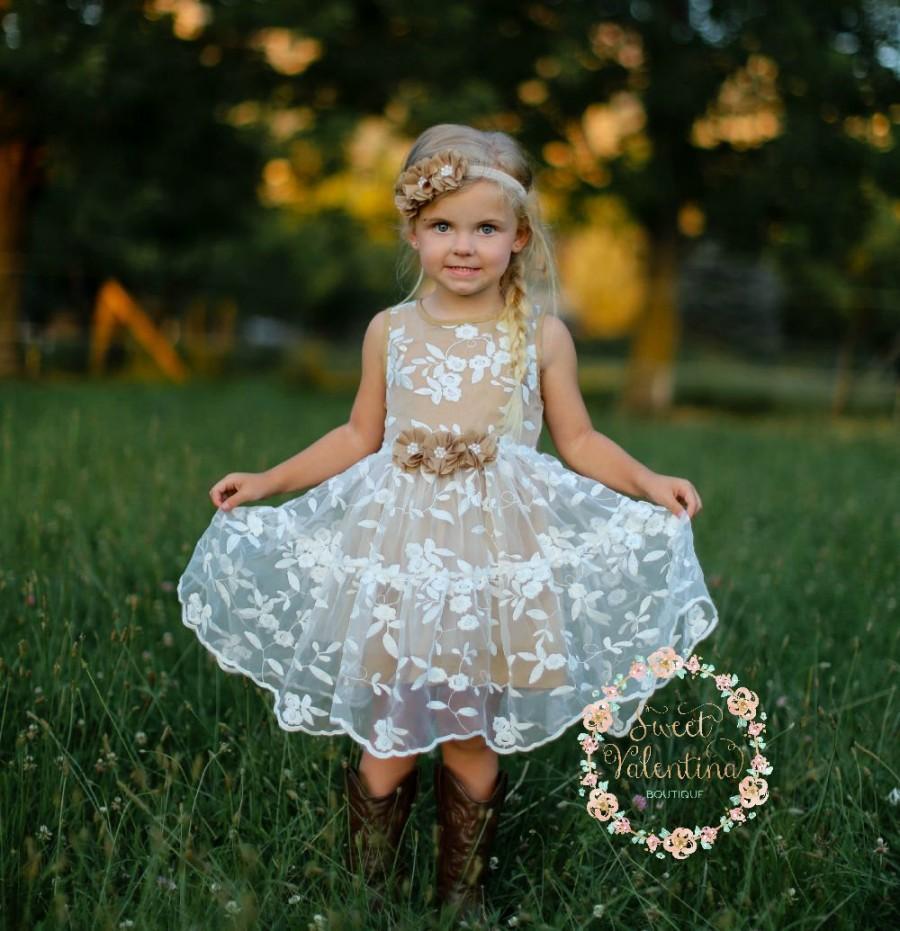 Mariage - Girls dress, lace flower girl dress, girls dress, girls lace dress, easter dress, brown lace dress, rustic flower girl dress, birthday dress